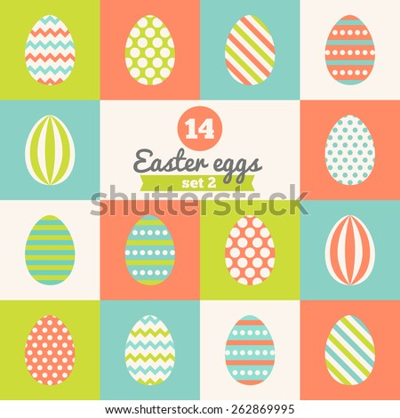 Set of Easter eggs with Stripes, Polka Dot, Diagonal Lines and Chevron Patterns in Red, Green, Blue and White. Perfect for greeting cards, invitations. Vector illustration in flat design - stock vector