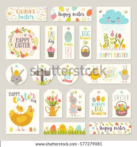 Set easter gift tags labels cute stock vector 577279081 shutterstock set of easter gift tags and labels with cute cartoon characters and type design easter negle