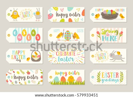 Set easter gift tags labels cute stock vector 579933451 shutterstock set of easter gift tags and labels with cute cartoon characters and type design easter negle Images