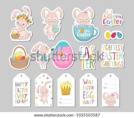 Set easter gift tags scrapbooking elements stock vector 1035503587 set of easter gift tags scrapbooking elements labels badges with cute bunnies and negle Gallery