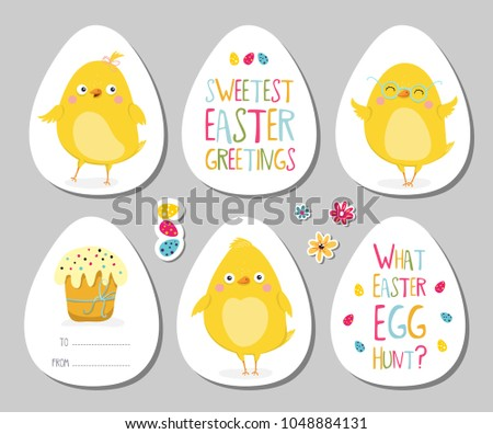 Set easter gift tags scrapbooking elements stock vector 1048884131 set of easter gift tags scrapbooking elements labels badges with cute chicken and negle Images