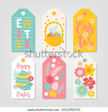 Set easter gift tags basket eggs stock vector hd royalty free set of easter gift tags with basket eggs flowers leaves branches negle Image collections