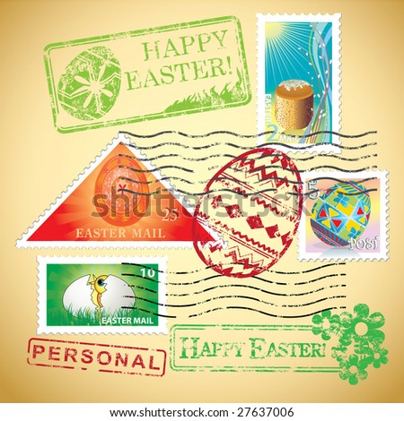 Set of Easter mail's elements (postage, postmark), vector illustration - stock vector