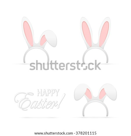 Set of Easter mask with rabbit ears isolated on white background, illustration. - stock vector