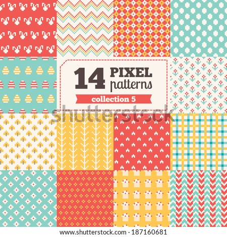 Set of Easter pixel patterns  - stock vector