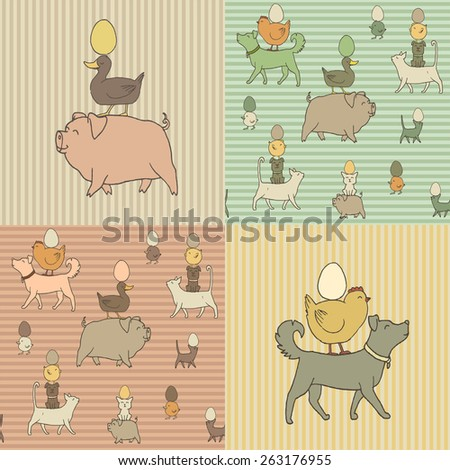Set of 4 Easter seamless texture with farm animals and eggs. Ukraine