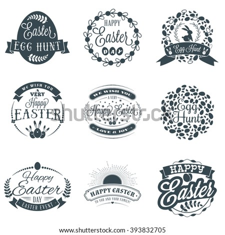 Set of Easter Typographical Design Elements in Vintage Style. Happy Easter Label Elements. Vintage Holiday Badges. Vector Templates for Greeting Card - stock vector