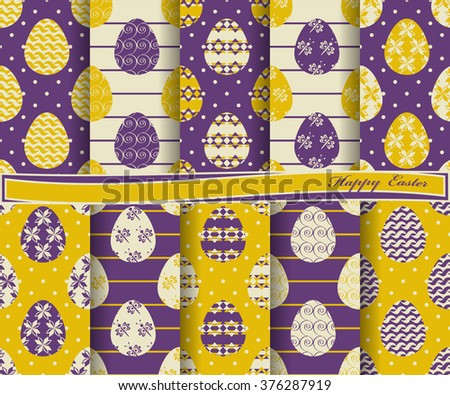 Set of Easter vector paper with the symbol painted egg and decorative design elements for scrapbook