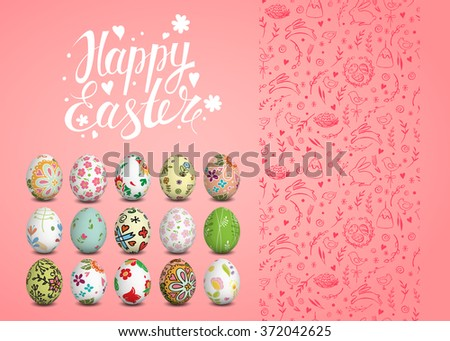 Set of Easter vector seamless pattern, realistic isolated eggs and handwritten inscription. Hand drawn elements. Happy Easter. Sketch. Easter eggs, chicken, rabbit, cake. Typography. Lettering.