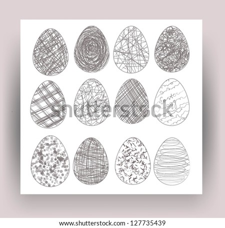 Set of eastern eggs. Vector illustration. - stock vector