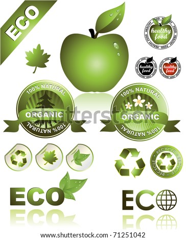Set of Eco and Organic Icons - stock vector