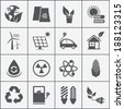 Set of eco energy icons with wind  nuclear  and solar power  electric car  recycling  eco light bulb  maize  biofuel  rechargeable battery  photovoltaic panel  wind turbine and a green house - stock vector