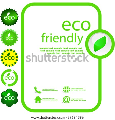 Set of eco friendly, natural and organic elements. - stock vector