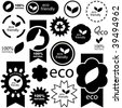 Set of eco friendly, natural and organic labels. - stock vector