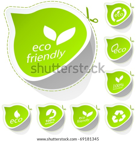 Set of eco friendly, natural and organic stickers. - stock vector