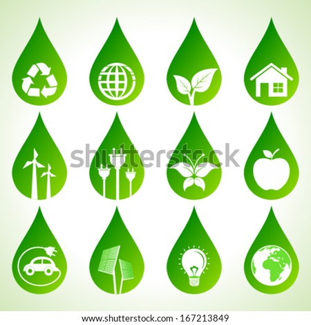 Set of eco icons on water drops stock vector - stock vector