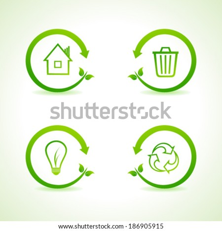 Set of eco icons stock vector  - stock vector