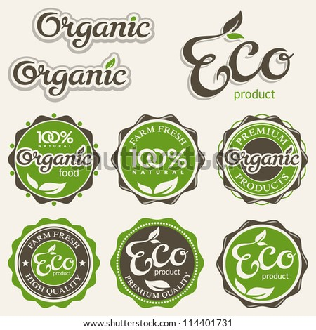 Set of eco labels, vector illustration - stock vector
