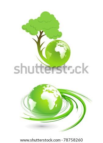 set of eco vector globe design element. - stock vector