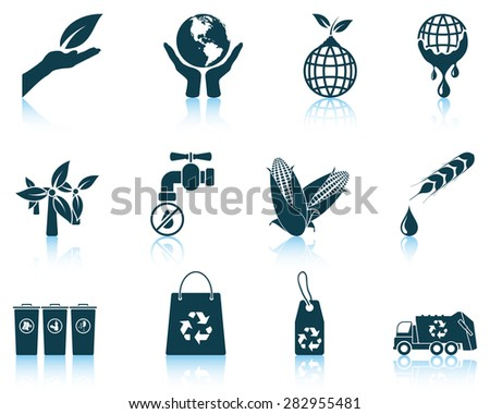 Set of ecological icons. EPS 10 vector illustration without transparency. - stock vector