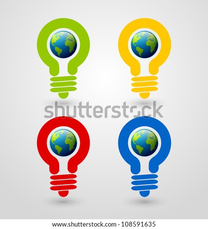 Set of ecology and saving energy icons with light bulb and planet Earth - stock vector
