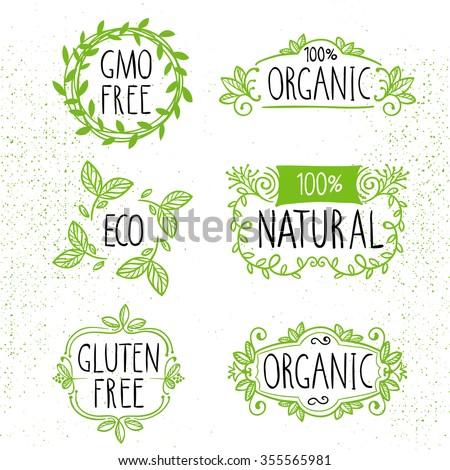 Set of ecology hand-drawn illustrations. Vegan or natural food labels. Modern badge design. - stock vector