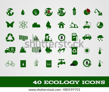 Set of 40 ecology icon vector illustration
