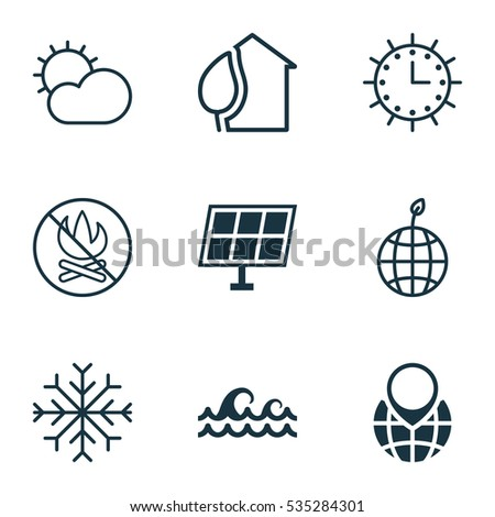 Set Of 9 Ecology Icons. Includes Fire Banned, Home, Winter Star And Other Symbols. Beautiful Design Elements.