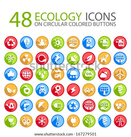 Set of 48 Ecology Icons on Circular Colored Buttons. - stock vector