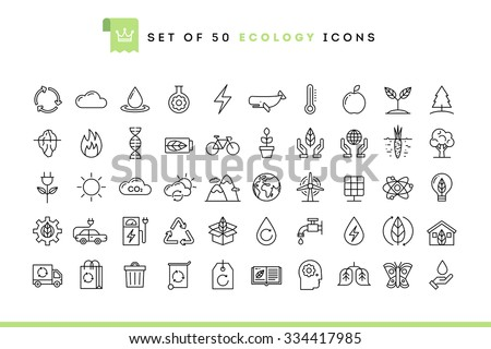 Set of 50 ecology icons, thin line style, vector illustration  - stock vector