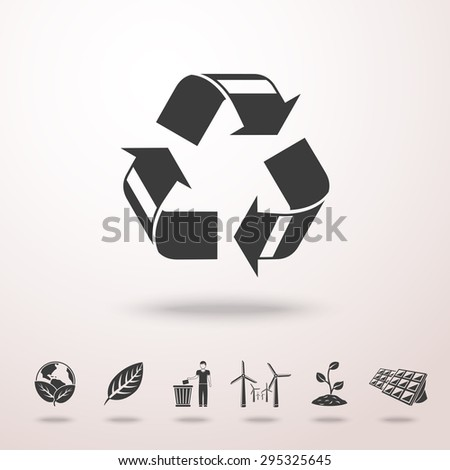 Set of ECOLOGY icons with shadow - recycle sign, green earth, leaf, garbage disposal, wind power station, plant, solar power station. Vector - stock vector