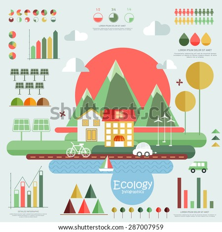 Set of ecology infographic elements with view of city and various statistical graphs and charts. - stock vector