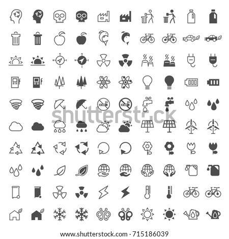 Set of 100 Ecology Minimal and Solid Icons on White Background . Vector Isolated Elements