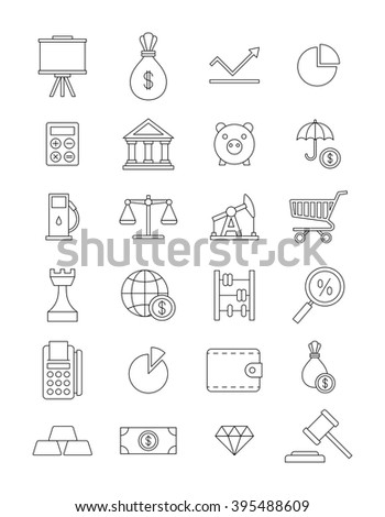 Set of 24 economy icons