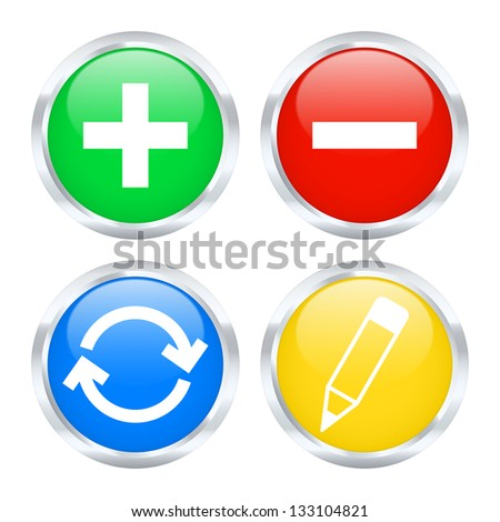 Set of edit web buttons. Vector illustration. - stock vector