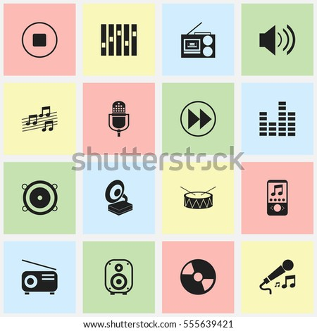 Set Of 16 Editable Audio Icons. Includes Symbols Such As Sound, Snare, Musical Sign And More. Can Be Used For Web, Mobile, UI And Infographic Design.