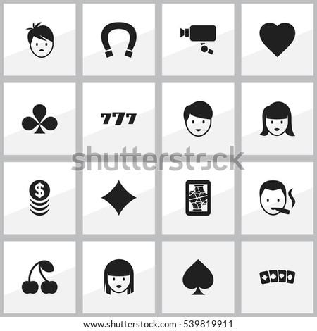 Set 16 Editable Casino Icons Includes Stock Vector 539819911