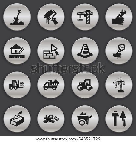 Set Of 16 Editable Construction Icons. Includes Symbols Such As Construction Tools, Lifting Equipment, Notice Object And More. Can Be Used For Web, Mobile, UI And Infographic Design.