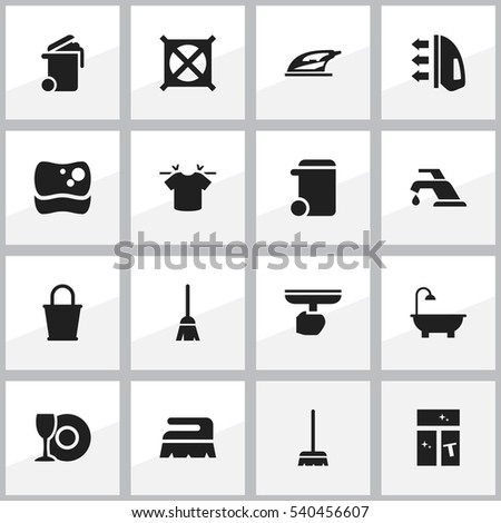 Set 16 Editable Dry Cleaning Icons Includes Stock Vector 540456607
