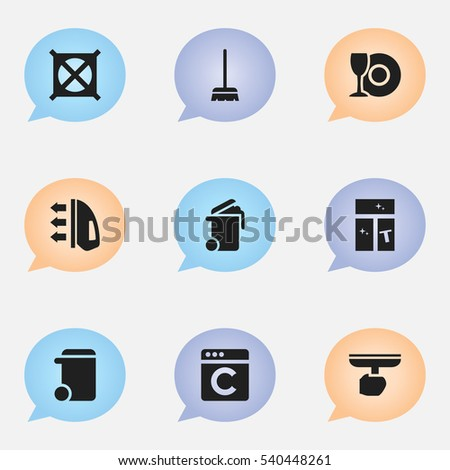 Set Of 9 Editable Dry-Cleaning Icons. Includes Symbols Such As Washing Glass, Dustbin, Brush And More. Can Be Used For Web, Mobile, UI And Infographic Design.