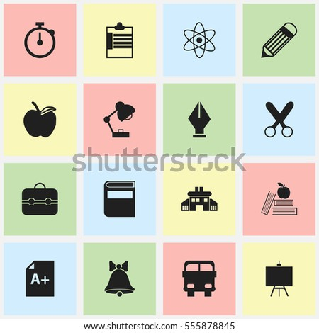 Set Of 16 Editable Education Icons. Includes Symbols Such As Apple, Literature, Trunk And More. Can Be Used For Web, Mobile, UI And Infographic Design.