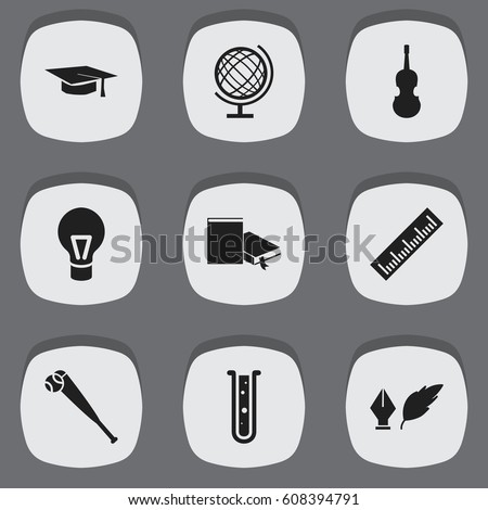 set editable education icons includes stock vector  set of 9 editable education icons includes symbols such as lamp earth planet