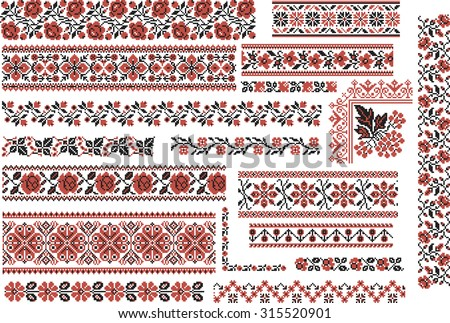 Set of editable ethnic patterns for embroidery stitch in red and black. Floral motives. - stock vector
