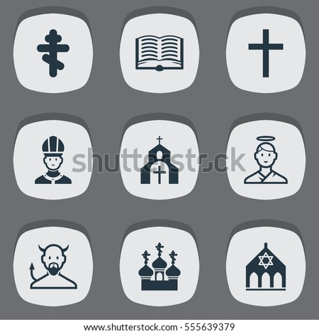 Set Of 9 Editable Faith Icons. Includes Symbols Such As Cherub, Temple, Orthodox Symbol And More. Can Be Used For Web, Mobile, UI And Infographic Design.