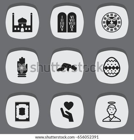 Set 9 Editable Faith Icons Includes Stock Vector 656052391