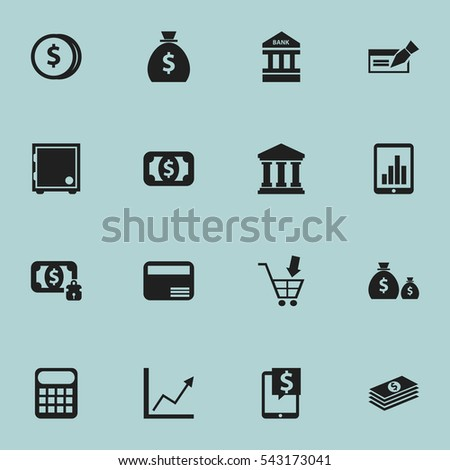Set Of 16 Editable Financial Icons. Includes Symbols Such As Salary, Crate, Edifice And More. Can Be Used For Web, Mobile, UI And Infographic Design.