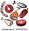 set of editable meat and fish icons, collection of symbols - stock vector