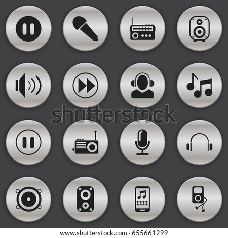 Set Of 16 Editable Mp3 Icons. Includes Symbols Such As Audio Note, Musical Gadget, Volume And More. Can Be Used For Web, Mobile, UI And Infographic Design.