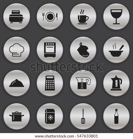 Set Of 16 Editable Restaurant Icons. Includes Symbols Such As Kitchen Shovel, Coffee, Bowl And More. Can Be Used For Web, Mobile, UI And Infographic Design.