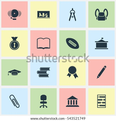 Set Of 16 Editable School Icons. Includes Symbols Such As Univercity, First Place, Library And More. Can Be Used For Web, Mobile, UI And Infographic Design.